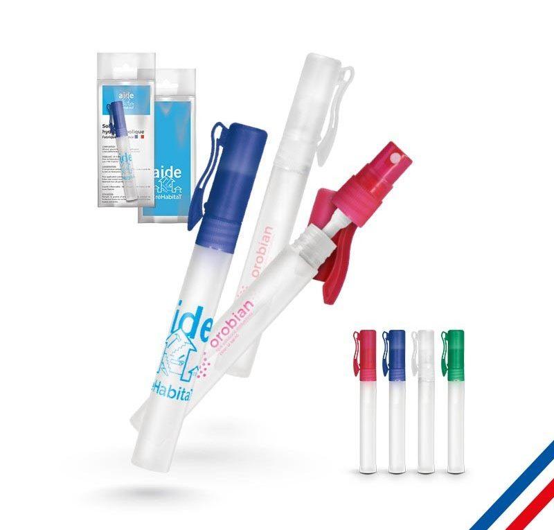 spray antibactérien de poche avec logo. Made in France